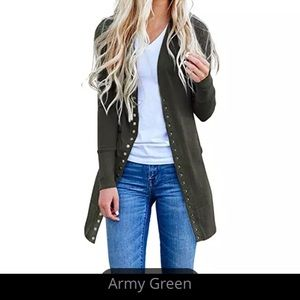 Army green long sleeved coat/cardigan